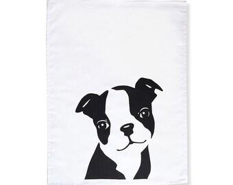 Boston Terrrier Puppy Tea Towel/Dish Towel