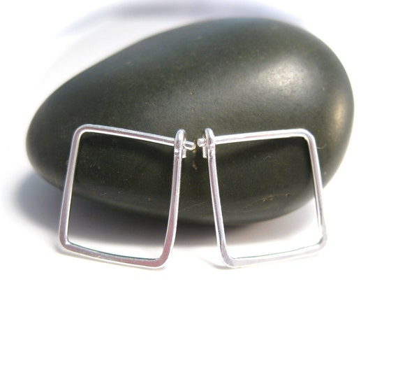 Tiny Silver Square Hoops - Geometric Jewelry