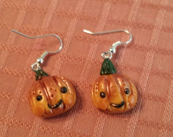 Pumpkin Kawaii Polymer Clay Earrings