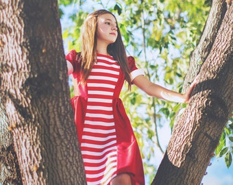 Retro 1960 Style Red Stripe dress girls cothing mod dress