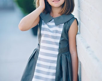 1960's Retro Style Gray with strips dress