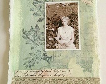 Mixed media original collage 'Dear Frieda'