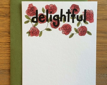 Delightful Hand Drawn Text Flower Pattern of Roses on A2 Flat Note Card