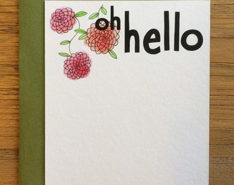 Oh Hello Hand Drawn Text Flower Pattern of Begonias on A2 Flat Note Card