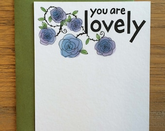 You Are Lovely Hand Drawn Text Flower Pattern of Blue Roses on A2 Flat Note Card