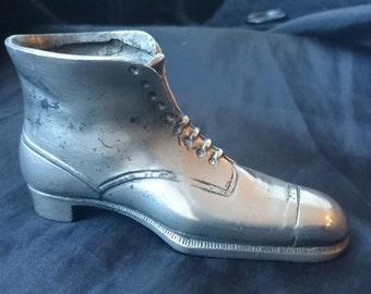 Antique Miniature Victorian Boot Shoe Silver Metal