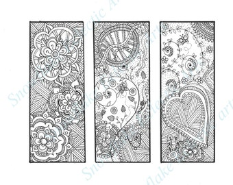 DIY BOOKMARKS - Instant PDF Digital Download - Printable Coloring Page - Happy Bookmark Trio A - Set Of 3 - Adults - Children