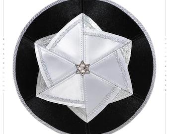 Kippah yarmulke. Jewish wedding - Bar Mitzvah - Shabbat. David Star.