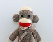 Sock Monkey Doll - Rockford Red Heel socks - Traditional Sock Monkey Toy Brown
