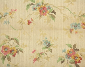 1920s Vintage Wallpaper by the Yard - Anitique Floral  Wallpaper Pink Yellow and Blue Flowers