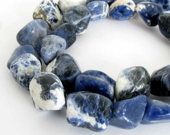 Sodalite Beads, 16mm Sodalite Nugget Beads, Full Strand, Blue Sodalite, Gemstone Nugget Beads, Sod200