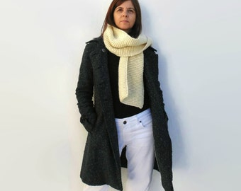 Scarf Knitted in Ivory White Merino Wool