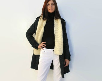 Ivory Merino Wool Chunky Knit Scarf, Hand Knit Long Scarf, Womens Scarves, Mens Neck Warmer, Winter Wrap, Fashion Chunky Knitted Scarf