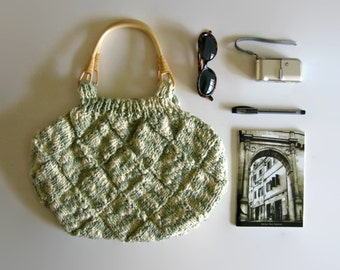 SALE - Tote Bag Knitted in Variegated Green - Cream Cotton