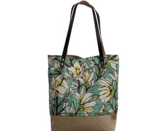 Summer Beach Bag, Floral Tote,  Market Tote Bag, Resort Bag, Beach Bag, Cotton Canvas Bag, Burlap Bag, Burlap Leather Bag