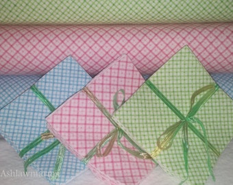 Diagonal Plaid FLANNEL Fabric Squares you pick your colors quantity and size