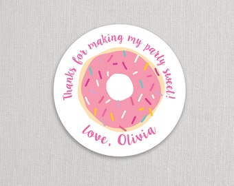 Donut Favor Stickers . for Return address, Favors, Treat Bags and Envelope Seals - Sprinkles