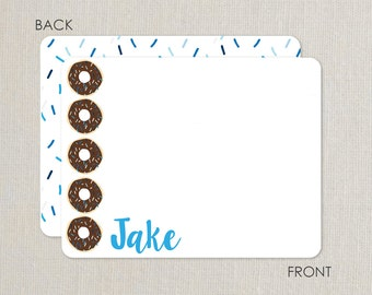 Donut Party thank you notes -  Flat Notecards Stationery with 2-sided printing - blue and chocolate with sprinkles