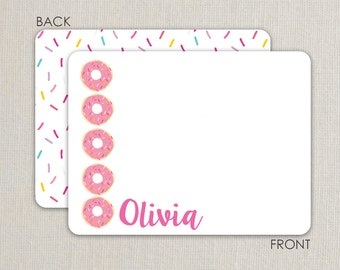 Donut Party thank you notes -  Flat Notecards Stationery with 2-sided printing - pink with sprinkles