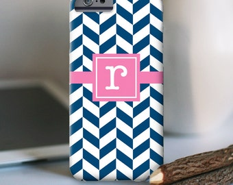 iPhone 7 Personalized Case  -  Herringbone initial - other models available