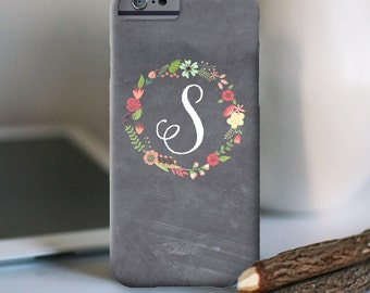 iPhone 7 Personalized Case  - Chalkboard floral wreath  - other models available