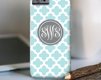 iPhone 7 Personalized Case  - Quatrefoil monogram  - other models available
