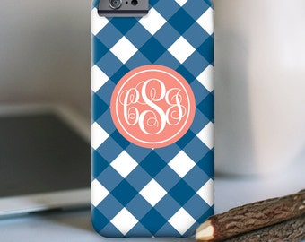 """Gingham custom iPhone 6s Case, other models available """"gingham monogram"""""""