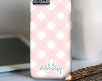 iPhone 7 Personalized Case  - Gingham with name  - other models available