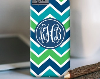 iPhone 6s case, Multicolor chevron with Monogram iPhone case - Also available for other models