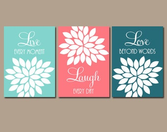 Coral Teal Aqua Wall Art, CANVAS or Prints Live Laugh Love Baby Girl Nursery Artwork Girl Bedroom Pictures, Girl Nursery Pictures, Set of 3