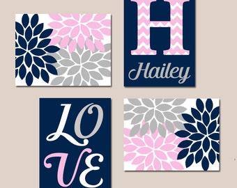 NAVY Pink Gray Nursery Wall Art, Canvas or Prints Baby GIRL Love Flower Burst Girl Bedroom Artwork Girl Monogram Name Set of 4 Crib Decor