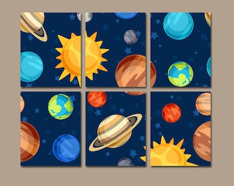 OUTERSPACE Wall Art, PLANETS CANVAS or Prints Baby Boy Bedroom Artwork Pictures, Galaxy Space Set of 6 Boy Decor