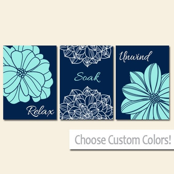 Navy Bathroom Wall Decor : Navy aqua bathroom decor wall art canvas or print flower