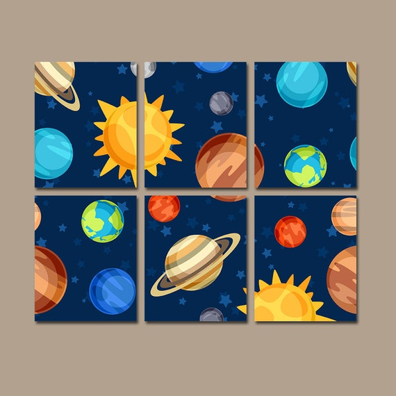 Outerspace wall art planets canvas or prints baby boy bedroom for Wall decor outer space