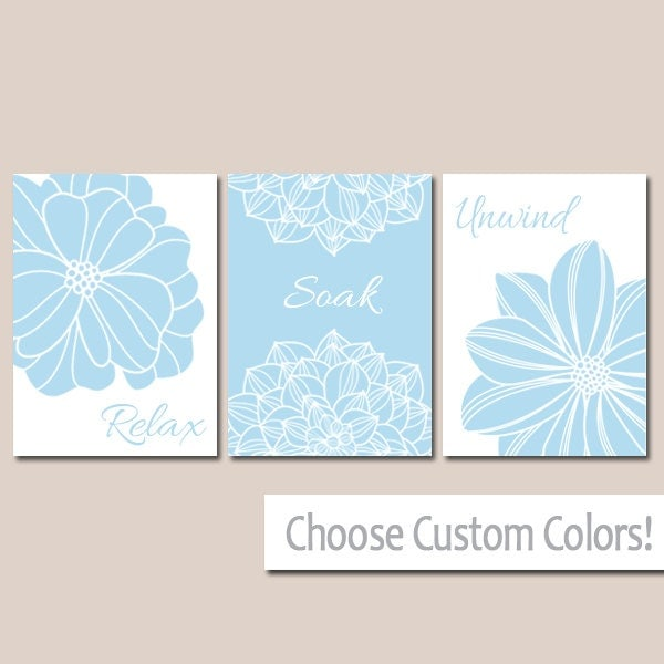 Blue BATHROOM DECOR WALL Art Canvas Or Print Flower By TRMdesign