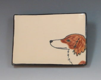 Handbuilt Ceramic Soap Dish with Dog - Dachshund