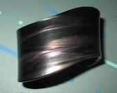 Vintage MOD 60s Black and Grey Swirled Lucite Cuff Bracelet