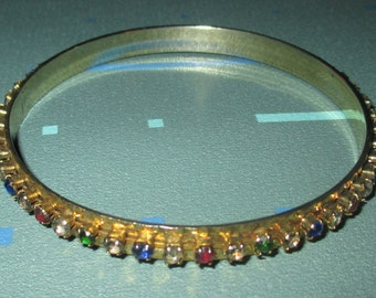 Vintage FAB Multi-Color Rhinestone Eternity Style Bangle Bracelet