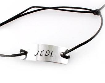 Star Wars Bracelet - Jedi stamped slide knot bracelet on cotton cord - Gift for Him