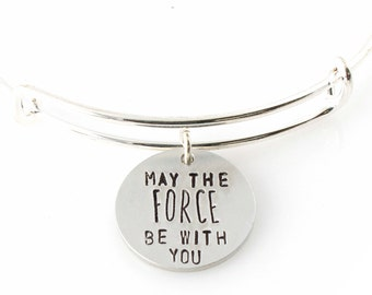 May the Force Be With You Bracelet - Star Wars Bracelet - Adjustable Bangle Bracelet - Star Wars Jewelry