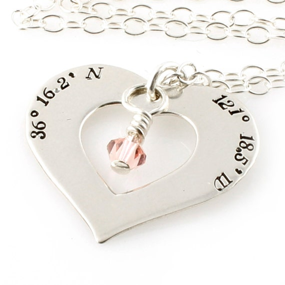 Custom Coordinates Heart Necklace  - Personalized Latitude & Longitude Necklace in sterling silver with birthstone