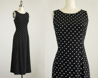 20% Off With Coupon Code! 90s Vintage Black And White Polka Dot Print Maxi Dress / Size Small / Medium