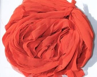 Sari Chiffon ribbon, Recycled Silk Chiffon Sari ribbon, Deep orange Ribbon, NEW