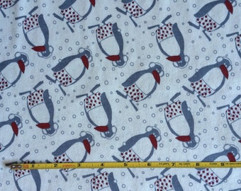 Penguins on 100% cotton  jersey knit fabric  1 yard