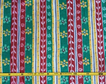 Red, green and yellow vertical floral stripe  on 100% cotton  jersey knit fabric  1 yard