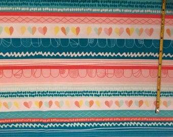 NEW Art Gallery Clueless Hearts Innocence on cotton Lycra  knit fabric 1 yard