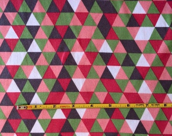 NEW Riley Blake triangles pink and gray cotton Lycra  knit fabric 1 yard