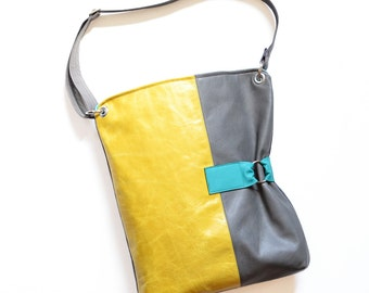 Leather Shoulder Bag, Laptop Bag, Leather Crossbody Purse, Womens Work Bag, The Luella Bag in Yellow and Granite Grey