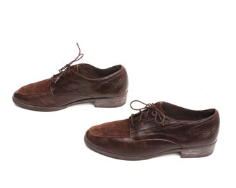 size 8.5 OXFORD brown leather 80s 90s BROGUE lace up shoes