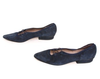 size 8 OXFORD blue suede 80s POINTED slip on flats made in SPAIN